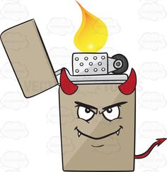 Naughty Looking Metal Lighter Smiling With Horns Fangs And Tail Emoji #arrowtail #brass #cap #chrome #device #devil #devilish #evil #fangs #fire #flame #flicker #fuel #igniter #ignitor #insert #light #lighter #lighters #metal #naughty #naughtylook #portable #redhorns #redtail #refillable #reusable #silver #wheel #zippo #vector #clipart #stock