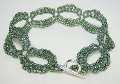 Grey Silver Beadwoven Bracelet 259 - $20.00 - Handmade Jewelry, Crafts and Unique Gifts by Noveenna #thecraftstar #uniquegifts #giftsunder30