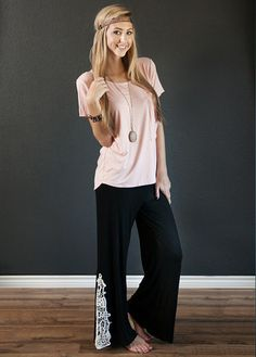 Crochet Bottom Fold Over Waist Yoga Pants! - The Deal Cottage
