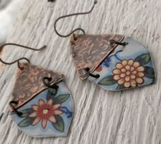 Handmade recycled repurposed colorful vintage tin flowers with textured copper forged rustic metal earrings dangle EcoFriendly Colorful Boho...