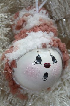 OOAK Hand Painted Snowball Cream and Tan Christmas by TracysCrtns