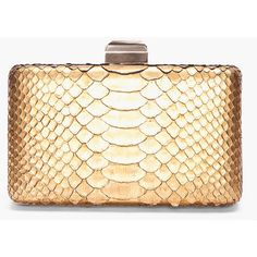 LANVIN Gold Python Skin Clutch (2,249,090 KRW) ❤ liked on Polyvore featuring bags, handbags, clutches, purses, bags / clutches, handbags purses, hand bags, box clutch, gold handbag and beige purse