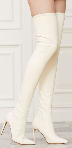 Made in Italy, the Ralph Lauren Tasita boot is crafted from sumptuous suede that is bonded to stretch leather, ensuring a sleek fit, and features a glamorous over-the-knee silhouette. High Heel Boots, Knee Boots, Heeled Boots, Bootie Boots, White Boots, Sexy Boots, White Thigh High Boots, White Leather Boots, Leder Boots