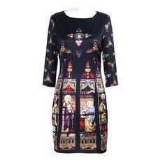 Black Half Sleeve Church Print Silk Shift Dress ($66) ❤ liked on Polyvore
