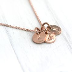 just bought this! love it!!   Rose Gold Monogram Necklace / Three Initials Hand Stamped Coin Discs / Rose Gold Personalized Necklace