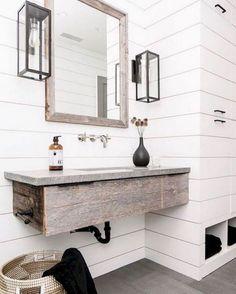 50 best farmhouse bathroom vanity remodel ideas (77)