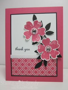 Stampin up - Strawberry Flower Shop Pretty Cards, Cute Cards, Easy Cards, Punch Art, Strawberry Flower, Strawberry Slush, Tampons, Flower Cards, Creative Cards