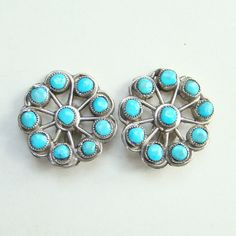 Vintage Turquoise Sterling Silver Satellite Clip Earrings Navajo Style Indian Jewelry by redroselady on Etsy