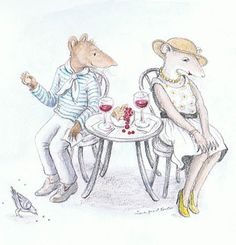 """Jane Grant Tentas, """"Mouse Love,"""" (colored pencil and watercolor, 6 x 7, $50)"""