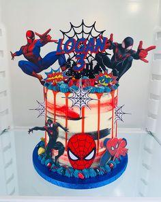 Spider-Man cake for Logan's Birthday. Spiderman Theme Party, Spiderman Birthday Cake, Avengers Birthday, Superhero Cake, Superhero Birthday Party, 30th Birthday Cakes For Men, 3rd Birthday, Birthday Ideas, Happy Birthday
