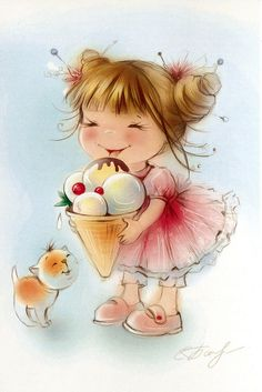 43 Trendy Ideas For Cats Art Drawing Sweets Art And Illustration, Illustration Mignonne, Girl Cartoon, Cute Cartoon, Art Mignon, Cute Drawings, Cute Art, Cute Kids, Cute Pictures
