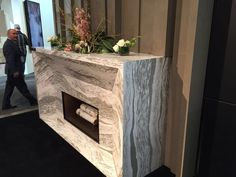 Cambria quartz fireplace at KBIS 2016