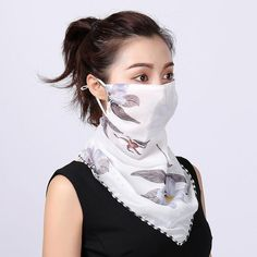 Masks-Flower Printed Women's Large Neck Guard Sun-resistant Silk Scarves Mask Driving College Style Scarf Outdoor Cycling Chiffon Floral, Chiffon Scarf, Chiffon Fabric, Chiffon Material, Summer Scarves, Floral Scarf, Diy Mask, Scarf Styles, Womens Scarves