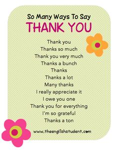 thank you, manners, ESL manners, ways to say thank you