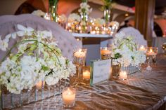 White, gold and mirrored centerpieces for a New Year's Eve wedding Floral and Decor by Southern Event Planners Centerpieces, Table Decorations, Event Planners, New Years Eve, Floral Wedding, Southern, White Gold, Celebrities, Party