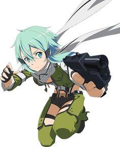 Yeet Dis girl never misses a shot Sinon Ggo, Kirito, Sao Characters, Fantasy Characters, Anime Elf, Manga Anime, Kunst Online, Online Art, Character Art