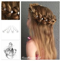 A 3 strand pull through halo braid with pretty hairpins from Goudhaartje.nl #3strandpullthroughhalobraid #pullthroughbraid #halobraid #braid #hairstyle #hairpins #hairaccessories #vlecht #haarstijl #haaraccessoires #goudhaartje