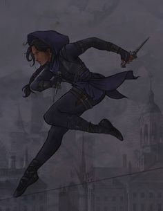 A depiction of Inej Ghafa from Six of Crows & Crooked Kingdom by Leigh Bardugo. It is one of my all time favorite books. I have been trying to figur. The Wraith Dnd Characters, Fantasy Characters, Female Characters, The Crow, Anime Outfits, Character Inspiration, Character Art, Crooked Kingdom, The Grisha Trilogy