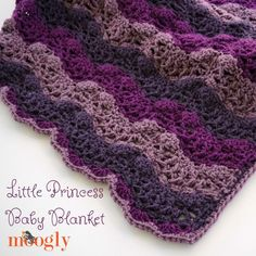 The Little Princess Baby Blanket is fit for royalty - but available to all - with this free crochet pattern on Moogly! You'll love this royal wave pattern!