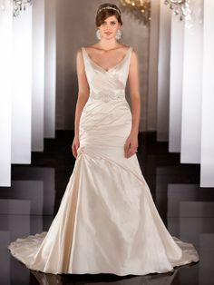 Straps V-neckline Ruched Wedding Dress with Dropped Waist and Plunging Backline