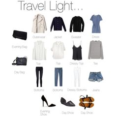 Travel Light... I don't know how light this is, but it's good guide lines if you have a decent sized bag for 3+ fun filled days
