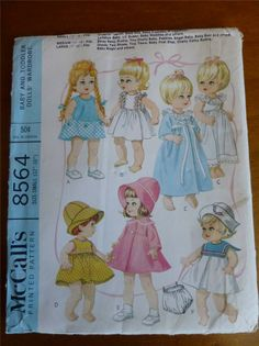 "Vintage McCalls 8564 12""- 16"" doll clothes pattern uncut 1966"