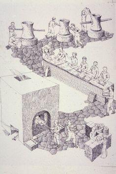 a pistrinum was a mill or a bakery ~ art by David Macaulay