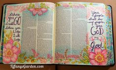 """I""""d be too scared to decorate my Bible like that though! mg** Tiffany's Garden Paper Crafts, Digital Stamps, Hand Made Cards, Country Living: Ruth - Bible Art Journaling with Colored Pencils Ruth 1 16, Scripture Art, Bible Art, Hymn Art, Bible Prayers, Bible Scriptures, Bible Study Journal, Art Journaling, Scripture Journal"""