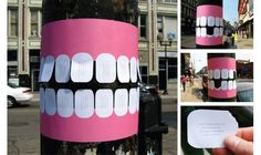 Dentist Telephone Pole Flyer With Tear-Off Teeth Dr. John Mullaly, a dentist in Muskegon, MI, came up with a creative approach to advertising his dental services by posting telephone pole flyers with tear-off teeth.