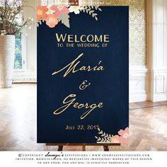Navy Blue and Gold Blush Pink Coral Peach Wedding Signs Decor, Rustic Floral Wedding Reception Signs, Wedding Welcome Sign, Guest Book Sign, Cards and Gifts Sign, Table Numbers, Seating Chart, Place Cards, Spring Summer Garden Wedding Ceremony Reception Signs Set by Soumya's Invitations