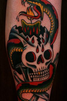 Traditional Snake With Candle Skull Tattoo