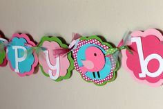 """Birdie """"happy birthday"""" Banner Pink Hot Pink Lime Green Turquoise Polka Dot Bird Baby Shower Girl Shabby Chic First Party Room Decorations on Etsy, $36.00"""