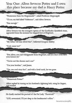 Albus Severus Potter and I own this place because my dad is Harry Potter << I feel like these all apply more to James than Albus <<<I agree