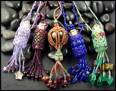 Bead Netted Bottle Seed Bead Work by ~andromeda on deviantART