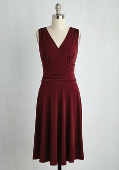 Travel Dazzle 'Em Dress - Red, Solid, Work, A-line, Sleeveless, Knit, Better, Long, Valentine's