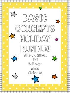 "Buying this AWESOME download at the bundle price is like getting TWO download free!This download includes:-BIG vs. SMALL - Fall-Directions page-22 color and black and white pictures to help teach big vs. little (11 big pictures, and 11 small pictures)-Pages labeled ""big"" and ""small"" to use for sorting the pictures.-A worksheet where students are required to come up with items in their environment that are big and little.-BIG vs."