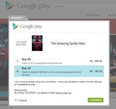 Google Play Store gets Movies, after Books and the Nexus 7. You can rent or purchase Movies directly from the web or your android device.