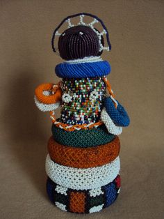 WAS $325 - VINTAGE ZULU NDEBELE DOLL BABY Rings African Carving HEAVY ADORN!