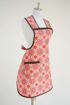 Orange and Brown Retro Womens Full Apron Michael by TerraceHill