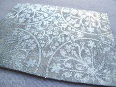 silver leaf on canvas acrylic paint resist
