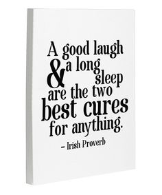 Take a look at this White & Black 'Cure' Irish Proverb Canvas Wall Art by OneBellaCasa on #zulily today!