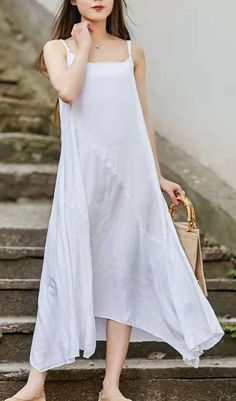 Handmade white linen cotton clothes Spaghetti Strap asymmetric Art summer DressCustom make service available! Please feel free to contact us if you want this dress custom made. Materials used:cotton linen Measurement: White Dress Summer, Summer Dress Outfits, Summer Maxi, Summer Dresses For Women, Casual Outfits, Cotton Wedding Dresses, Cotton Dresses, White Linen Dresses, Chiffon
