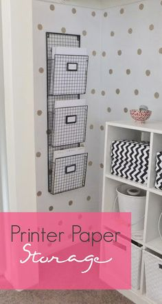 paper storage... or storage for sheet music and other books Polka Dot Walls, Polka Dots, Paper Storage, Wall Storage, Craft Storage, Hanging Files, Gold Diy, Office Organization, My New Room
