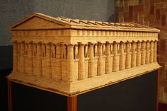 A model of the temple of Zeus, Agrigento. One of the largest in the ancient world, the temple was constructed in the BCE. It measured around 113 x 56 metres. Architecture Panel, Architecture Wallpaper, Futuristic Architecture, Architecture Sketches, Ancient Greek Architecture, Chinese Architecture, Ancient Greek Art, Ancient Greece, Ancient History