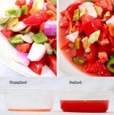 "Before adding juicy vegetables to a salad, lightly salt them to brighten the taste of the salad without making it ""salty. Healthy Breakfast Smoothies, Healthy Snacks, Healthy Eating, Healthy Recipes, Basted Eggs, Perfect Grilled Cheese, Searing Meat, Perfect Quinoa, Cooking Tips"