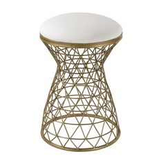Wire Mesh Forms Stool by Lazy Susan  Finish: Gold with Cream Linen