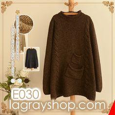 twist dual pockets knit E030-lagrayshop.com-Japan mori girls simple twist double pockets long-sleeved warm knit sweater-