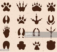 drawing of vector muddy footprint symbols.