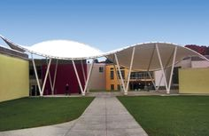 Canopy forms a crucial link at New York college - Fabric Architecture Column Structure, Membrane Structure, Steel Structure, Pvc Roofing, Car Shelter, Steel Columns, Outdoor Spaces, Canopy, Pergola