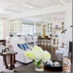 coffered ceiling, white kitchen